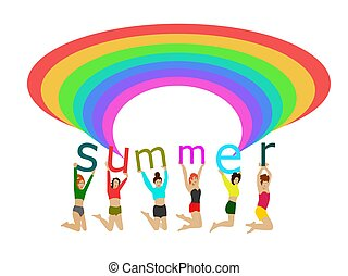 Six women jumped off the floor in their hands, raising the letters 'summer' with a rainbow on top. With a white background