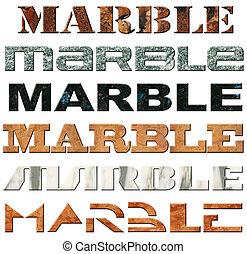 "Six Words Marble - Six words ""marble"" in marble material"