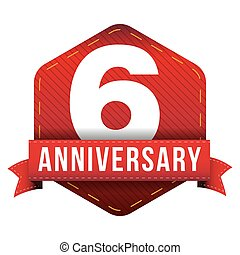 Six year anniversary badge with red ribbon