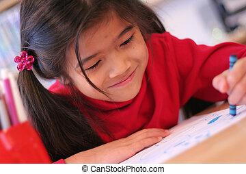 Six year old girl drawing