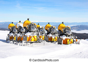 Snow Cannons - Six yellow Snow Cannons for making snow