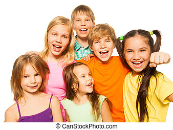 Six young children on a white background