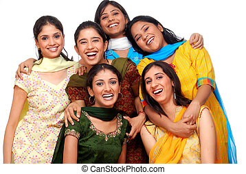 six young girls - group of six young cheerful girls