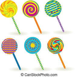 sixe colorful lollipops.