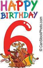 sixième, anniversaire, conception, anniversaire