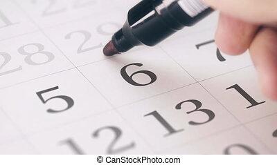 sixième, dû, marqué, mois, transforms, 6, date, calendrier, jour, rappel