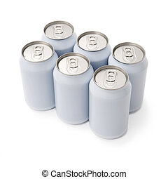 sixpack beverage cans - A six pack of unprinted beverage...