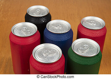 Sixt cold cans of soda in different colors