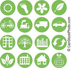 green ecology icons - sixteen different green ecology icons