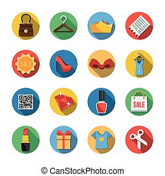 Sixteen Different Icons in a Flat Style