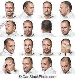 Sixteen facial expressions of a man