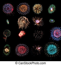Sixteen fireworks design elements - Sixteen different...