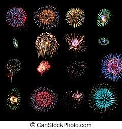 Sixteen fireworks design elements - Sixteen different...