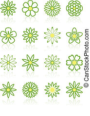 Sixteen Flower Icons - Sixteen Green and Yellow Flower Icons...