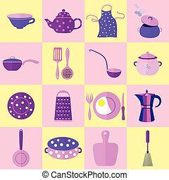 Sixteen Kitchen Tools and Utensils in Set