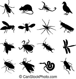 rodents and pests - sixteen silhouettes of rodents and pests