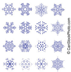 Sixteen snowflakes as winter design element. Vector illustration