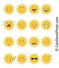 Sixteen sun emojis - Vector illustration of a sixteen sun...