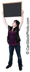 Sixteen Year Old Girl with Blank Chalkboard