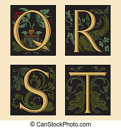 Sixteenth-Century alphabetQ R S T in editable vector file
