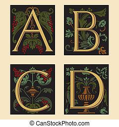 Sixteenth-Century alphabet A B C D in editable vector file