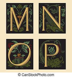 Sixteenth-Century alphabet M N O P in editable vector file