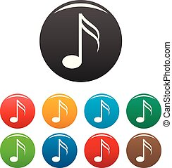 Sixteenth music note icons set color