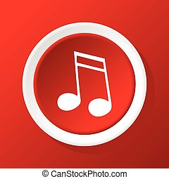 Sixteenth note icon on red