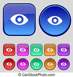 sixth sense, the eye icon sign. A set of twelve vintage buttons for your design.