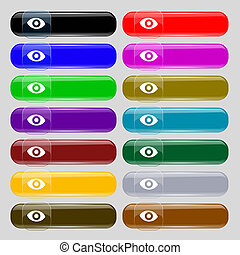sixth sense, the eye icon sign. Big set of 16 colorful modern buttons for your design.