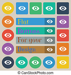 sixth sense, the eye icon sign. Set of twenty colored flat, round, square and rectangular buttons.