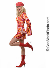 Sixties fashion - Full body of an attractive young woman...