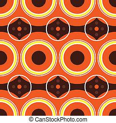 Retro sixties design with warm orange colors using circles