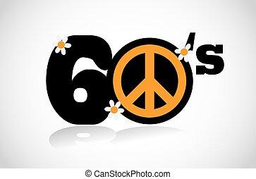 sixties peace symbol vector