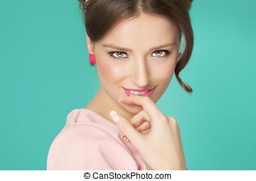 Sixties Style Girl - Sweet sixties style girl closeup over...