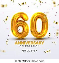 Sixtieth Anniversary Celebration Number Vector
