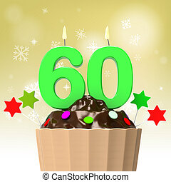 Sixty Candle On Cupcake Shows Family Reunion Or Celebration