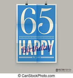 sixty-five, αφίσα , κάρτα , χρόνια , γενέθλια , ευτυχισμένος , old.