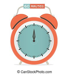 Sixty Minutes Stop Watch - Alarm Clock Vector Illustration