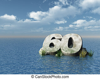 sixty monument - the number sixty at the ocean - 3d...