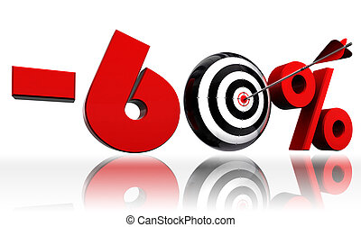 sixty per cent 60% red discount symbol with conceptual target