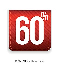Sixty percent off ribbon red