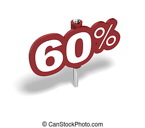 sixty percent red sign over a white background