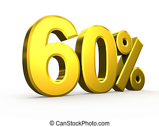 Sixty percent symbol on white background
