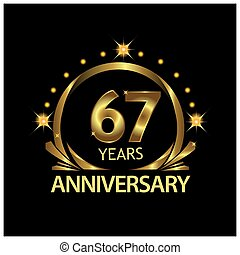 Sixty seven years anniversary golden. anniversary template design for web, game ,Creative poster, booklet, leaflet, flyer, magazine, invitation card - Vector