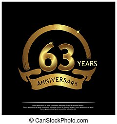 Sixty three years anniversary golden. anniversary template design for web, game ,Creative poster, booklet, leaflet, flyer, magazine, invitation card - Vector