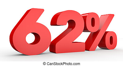Sixty two percent off. Discount 62 %. 3D illustration on...