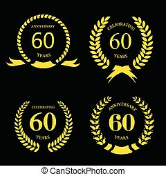 sixty years anniversary signs laurel gold wreath set - sixty...