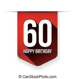Sixty years happy birthday ribbon