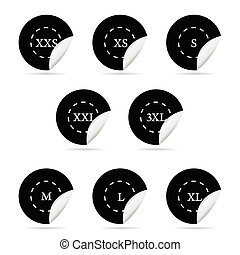size clothing black sticker set vector illustration